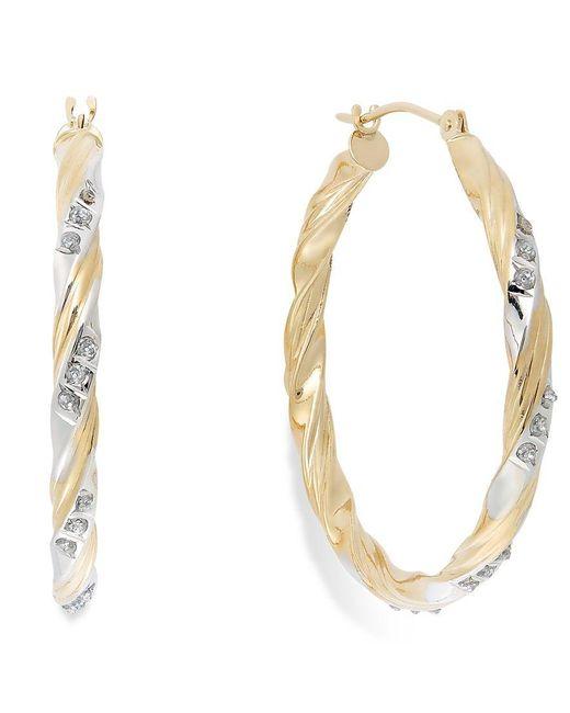 Macy's | Metallic Diamond Accent Carousel Hoop Earrings In 14k Gold | Lyst