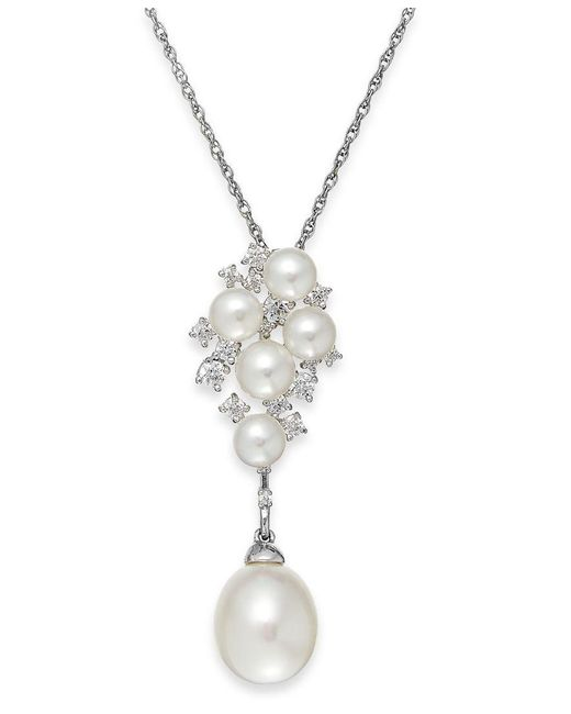 Arabella | Metallic Cultured Freshwater Pearl (5 & 10mm) And Swarovski Zirconia Pendant Necklace In Sterling Silver | Lyst