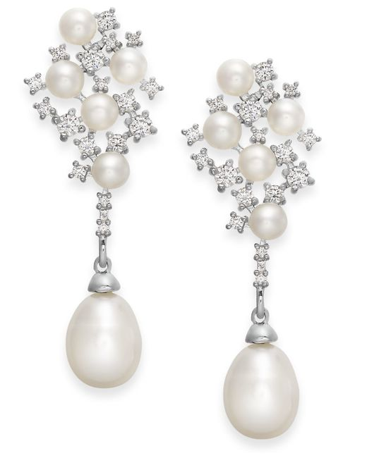 Arabella | White Cultured Freshwater Pearl And Swarovski Zirconia Drop Earrings In Sterling Silver (4 & 8mm) | Lyst