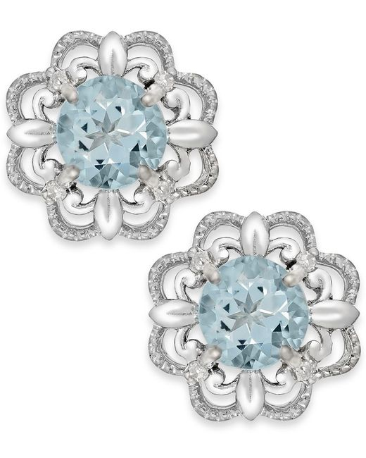 Macy's | Aquamarine (1/2 Ct. T.w.) And Diamond Accent Earrings In 14k White Gold | Lyst