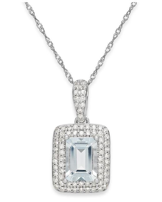 Macy's | Aquamarine (9/10 Ct. T.w.) And Diamond (1/5 Ct. T.w.) Pendant Necklace In 14k White Gold | Lyst