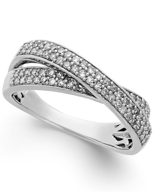 Macy's | Metallic Diamond Crossover Ring In Sterling Silver (1/2 Ct. T.w.) | Lyst