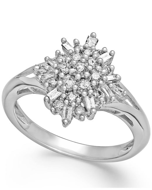 Macy's | Metallic Diamond Flower Cluster Ring In Sterling Silver (1/2 Ct. T.w.) | Lyst