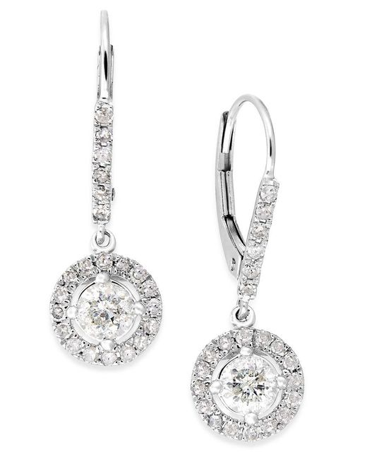 Macy's | Metallic Diamond Dangle Drop Earrings In 14k White Gold (1 Ct. T.w.) | Lyst