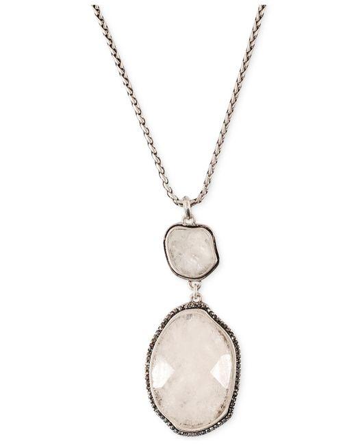 Lucky Brand | Metallic Silver-tone Organic Stone Pendant Necklace | Lyst