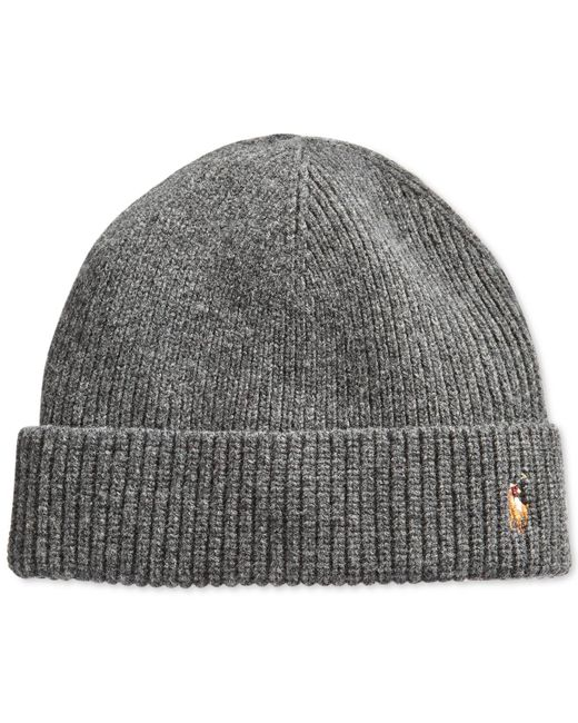 Polo Ralph Lauren | Gray Signature Merino Cuffed Beanie for Men | Lyst