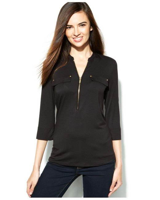 Calvin Klein | Black Roll-tab-sleeve Zip-front Top | Lyst