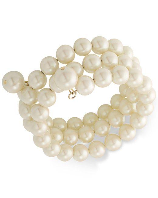 Carolee   White Gold-tone Imitation Pearl Multi-row Bracelet   Lyst