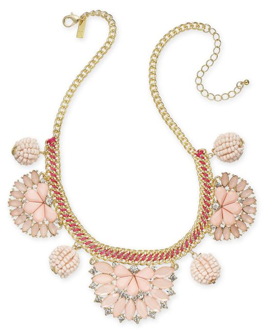 """INC International Concepts - Pink I.n.c. Gold-tone Stone & Crystal Statement Necklace, 18"""" + 3"""" Extender, Created For Macy's - Lyst"""