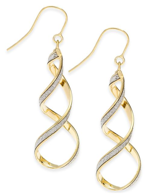 Macy's | Metallic Glitter Twist Drop Earrings In 14k Gold | Lyst