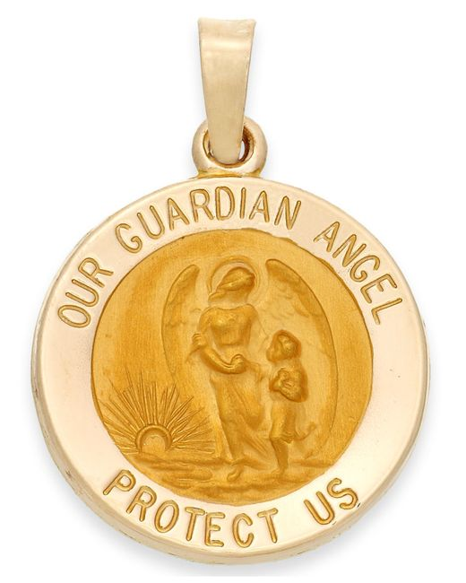 Macy's | Metallic Guardian Angel Pendant In 14k Gold | Lyst