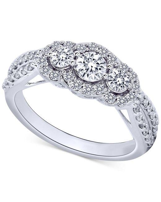 Macy's | Diamond Three-stone Ring In 14k White Gold (1 Ct. T.w.) | Lyst