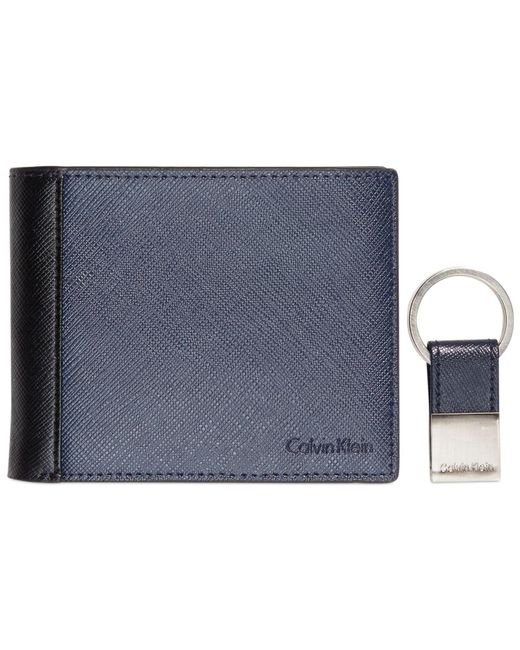 Calvin Klein | Blue Saffiano Leather Two-tone Bifold Wallet & Key Fob for Men | Lyst