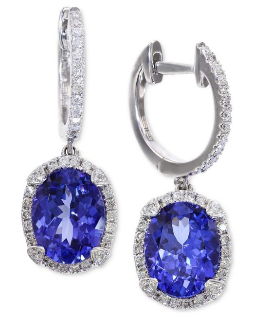 Macy's | Tanzanite (3-3/8 Ct. T.w.) And Diamond (1/3 Ct. T.w.) Hoop Earrings In 14k White Gold | Lyst