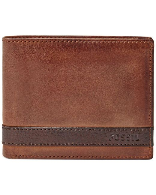 Fossil | Brown Quinn Bifold With Flip Id Wallet for Men | Lyst