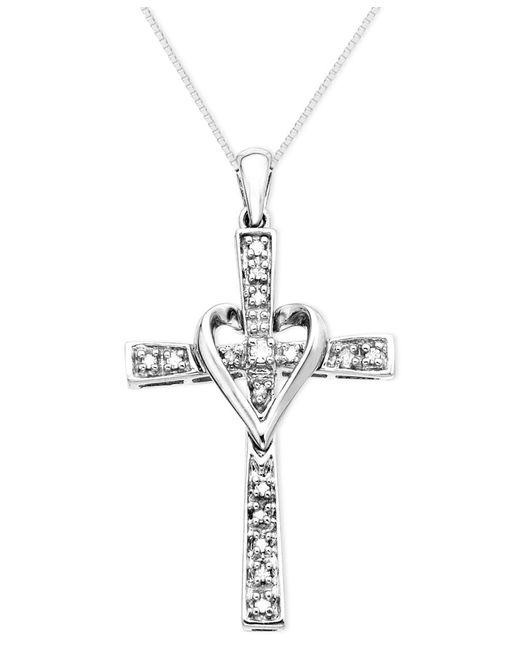 Macy's | Cross Diamond Pendant Necklace In 14k Yellow Or White Gold (1/10 Ct. T.w.) | Lyst