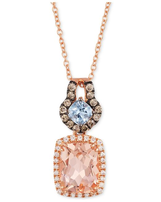 Le Vian | Blue Aquamarine, Morganite (1-3/4 Ct. T.w.) And Diamond (1/4 Ct. T.w.) Pendant Necklace In 14k Rose Gold | Lyst