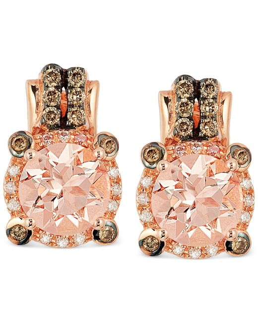 Le Vian | Pink Peach Morganite (1-3/4 Ct. T.w.) And Diamond (1/4 Ct. T.w.) Earrings In 14k Rose Gold | Lyst