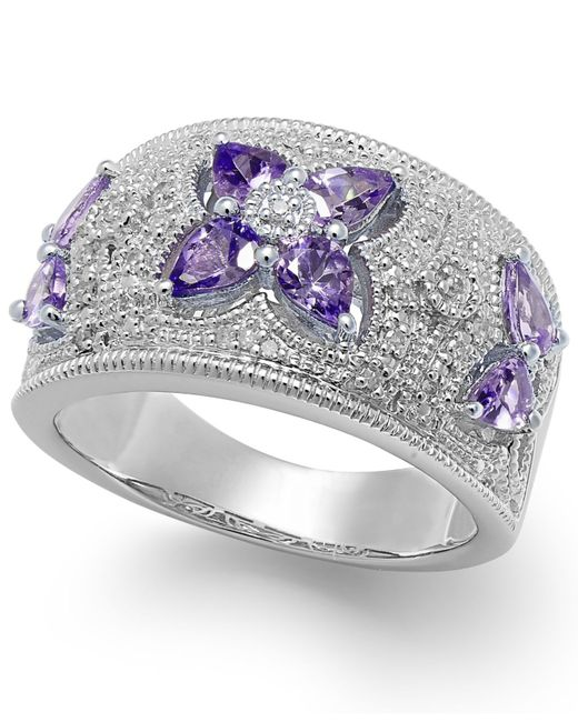 Macy's | Metallic Tanzanite (1-1/8 Ct. T.w.) And Diamond Accent Ring In Sterling Silver | Lyst