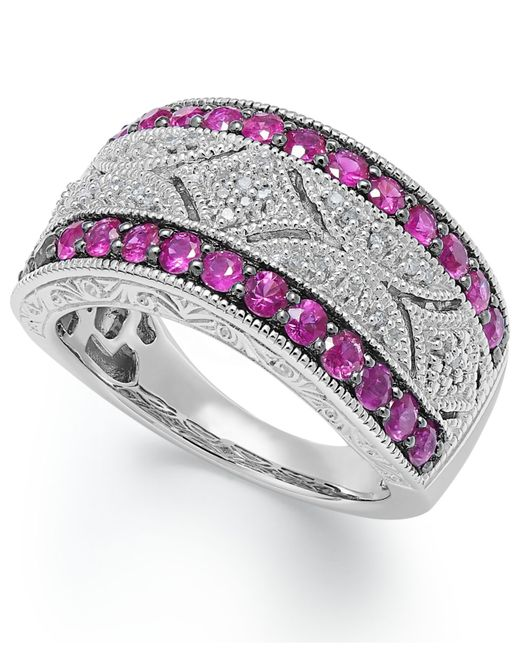 Macy's | Red Ruby (5/8 C.t. T.w.) And Diamond (1/10 C.t. T.w.) Antique Band In Sterling Silver | Lyst