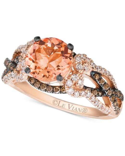 Le Vian | Orange Morganite (1-3/8 Ct. T.w.) And Diamond (5/8 Ct. T.w.) Ring In 14k Rose Gold | Lyst