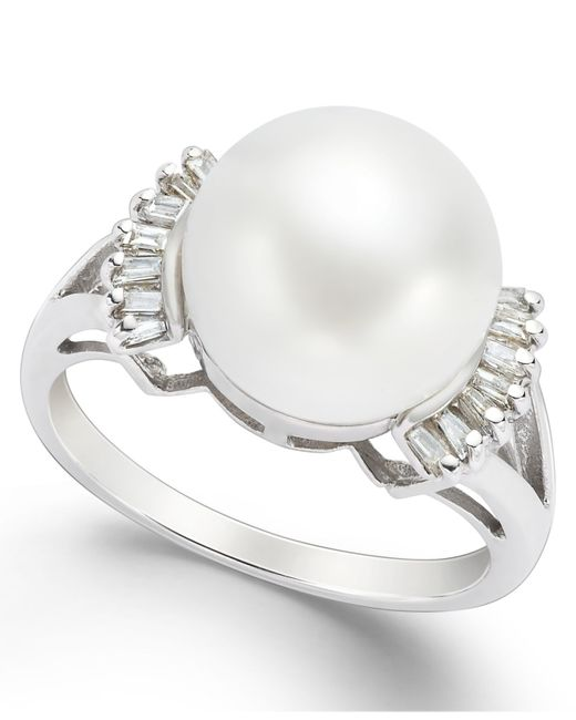 Macy's | Metallic Cultured Freshwater Pearl (11mm) And Diamond (1/5 Ct. T.w.) Ring In 14k White Gold | Lyst