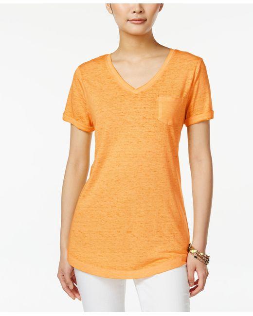 Style & Co. | Orange V-neck Burnout Pocket Tee, Only At Macy's | Lyst