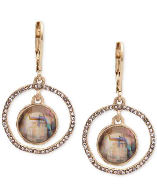 Lonna & Lilly - Metallic Abalone & Pavé Orbital Drop Earrings - Lyst