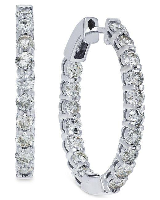 Macy's | Metallic Diamond Hoop Earrings In 10k White Gold (4 Ct. T.w.) | Lyst