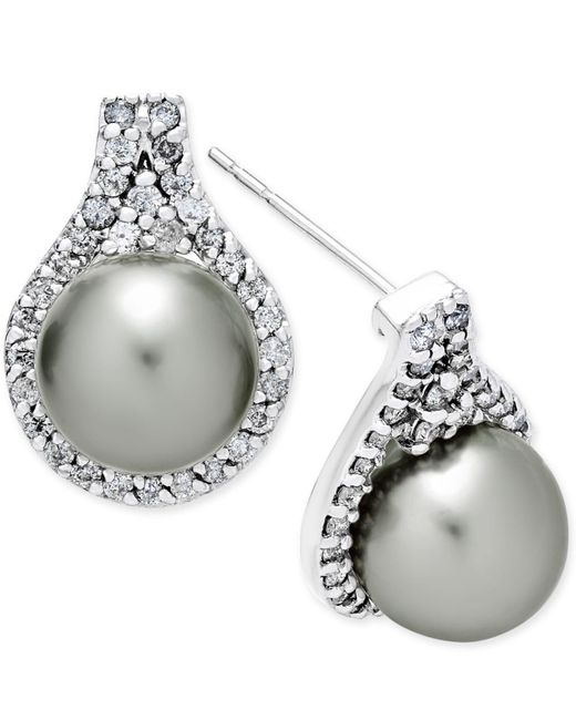 Macy's - Metallic Cultured Tahitian Pearl (9mm) And Diamond (5/8 Ct. T.w.) Drop Earrings In 14k White Gold - Lyst