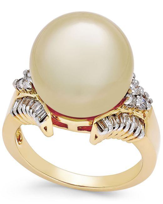Macy's Metallic Cultured Golden South Sea Pearl (13mm) And Diamond (1/2 Ct. T.w.) Statement Ring In 14k Gold