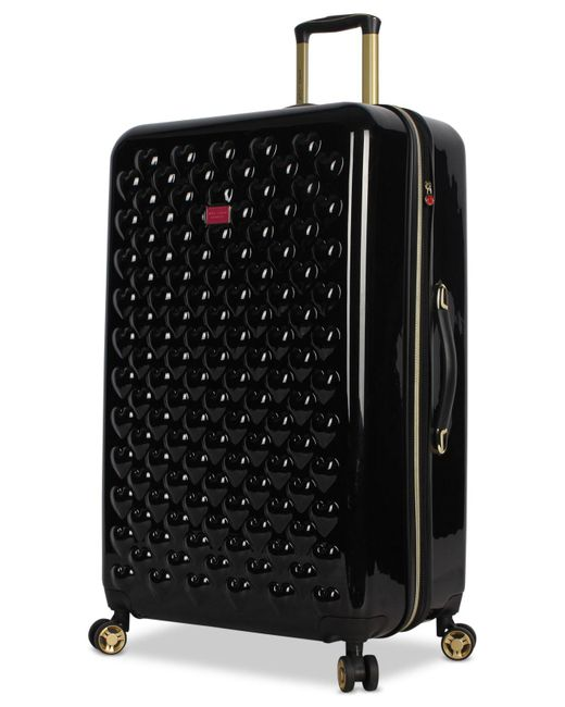"Betsey Johnson - Black Heart To Heart 30"" Hardside Expandable Spinner Suitcase - Lyst"