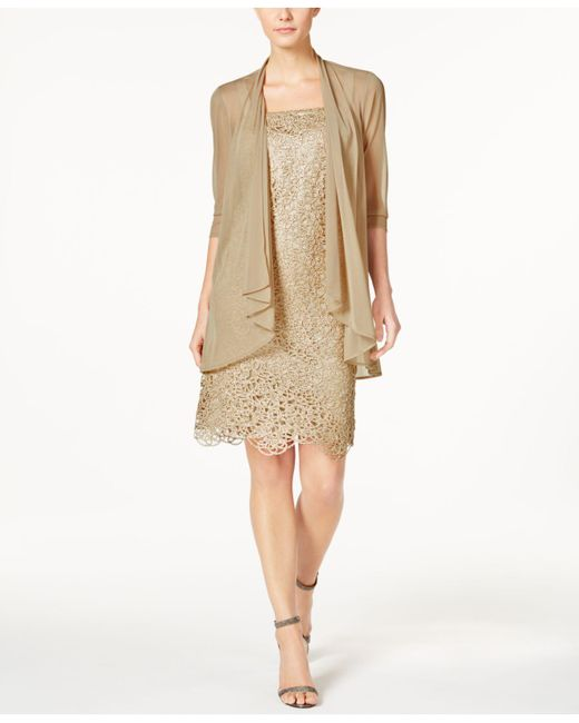 R & M Richards | Petite Metallic Sheath Dress And Draped Jacket | Lyst
