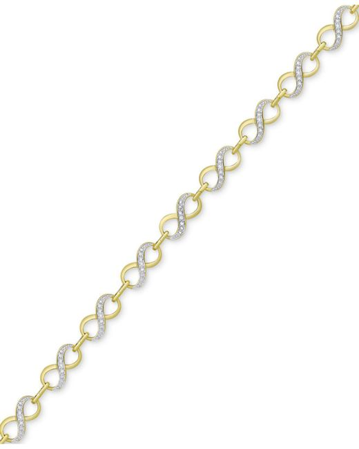 Macy's - Metallic Diamond Accented Infinity Link Bracelet In 18k Gold & Rhodium Plate - Lyst