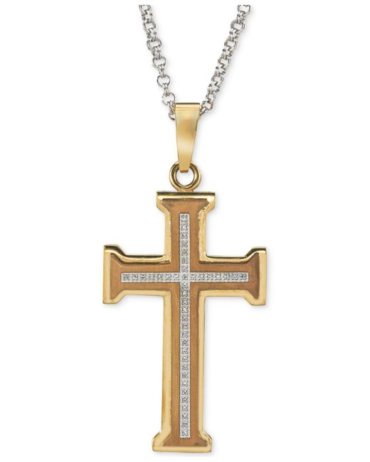 Macy's | Metallic Men's Diamond Cross Pendant Necklace (1/5 Ct. T.w.) In Gold Ion-plated Stainless Steel for Men | Lyst