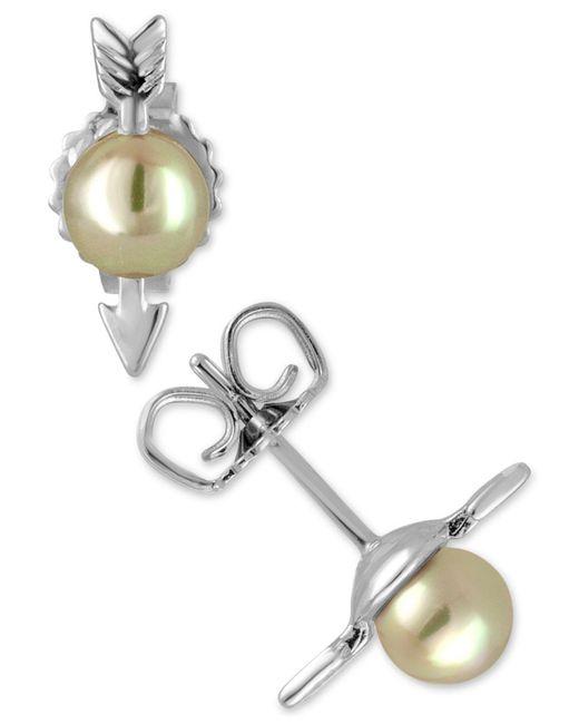 Majorica   Metallic Sterling Silver Imitation Pearl Arrow Stud Earrings   Lyst
