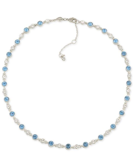 Carolee | Metallic Silver-tone Clear & Blue Crystal Collar Necklace | Lyst