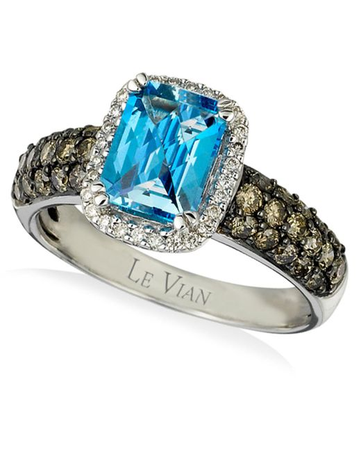 Le Vian - Signity Blue Topaz (1-1/5 Ct. T.w.) And Diamond (3/4 Ct. T.w.) Ring In 14k White Gold - Lyst