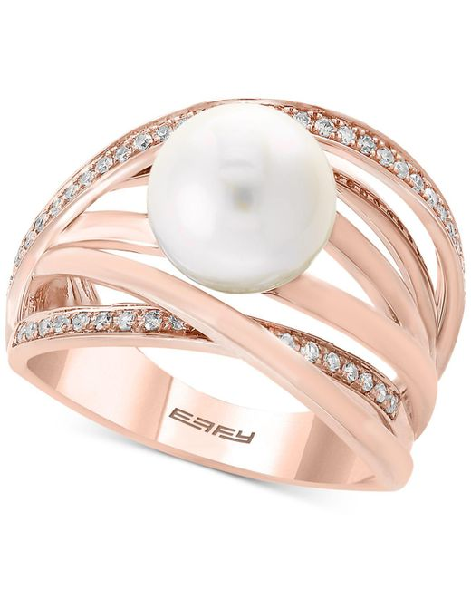 Effy Collection - Pink Pearl By Effy® Cultured Freshwater Pearl (9mm) & Diamond (1/6 Ct. T.w.) Ring - Lyst