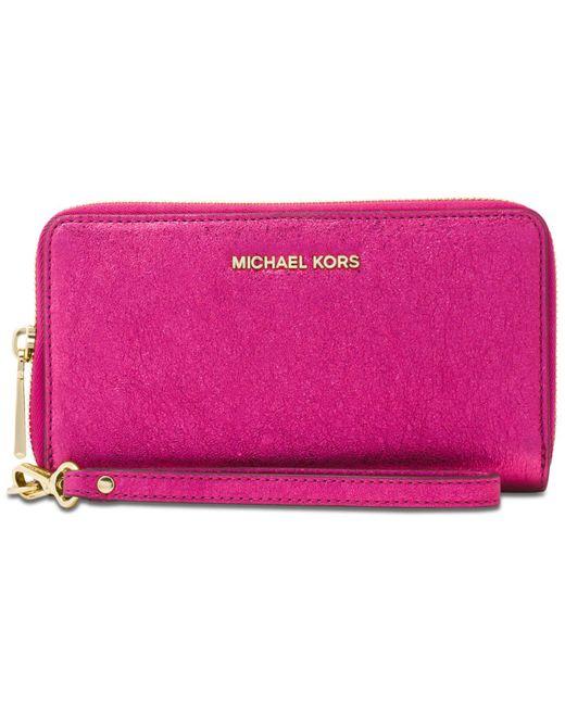 Michael Kors | Pink Michael Jet Set Travel Large Flat Multifunction Wallet | Lyst