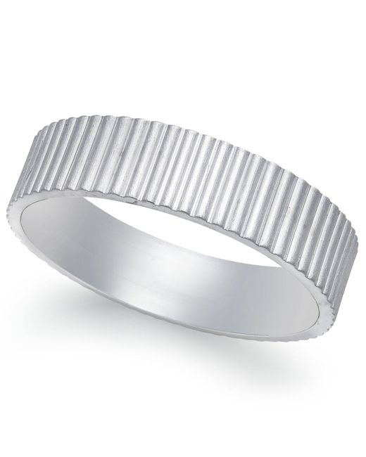 Macy's - Vertical Ridge Wedding Band In 18k White Gold - Lyst