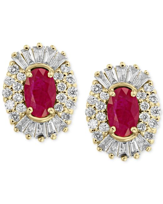 Effy Collection - Red Certified Amor By Effy® Ruby (1-1/8 Ct. T.w.) And Diamond (5/8 Ct. T.w.) Earrings In 14k Gold - Lyst