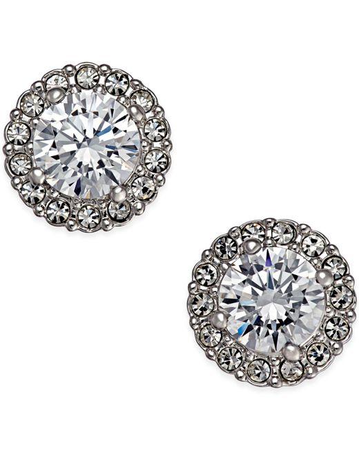 Danori | Metallic Silver-tone Framed Crystal Stud Earrings | Lyst