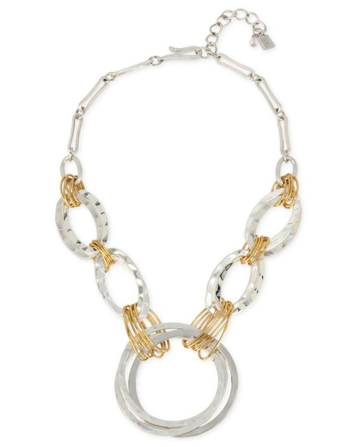 Robert Lee Morris - Metallic Two-tone Large Link Statement Necklace - Lyst