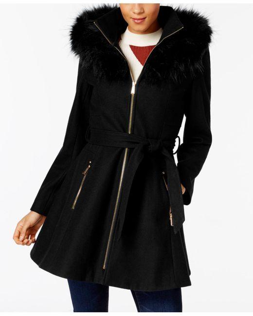 Laundry by Shelli Segal | Black Faux-fur-trim Skirted Coat | Lyst