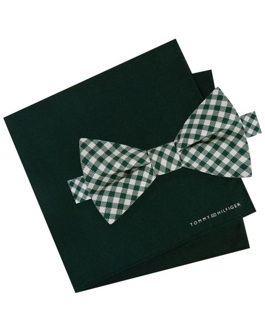 Tommy Hilfiger | Green Men's Micro Gingham Pre-tied Silk Bow Tie & Solid Silk Pocket Square Set for Men | Lyst