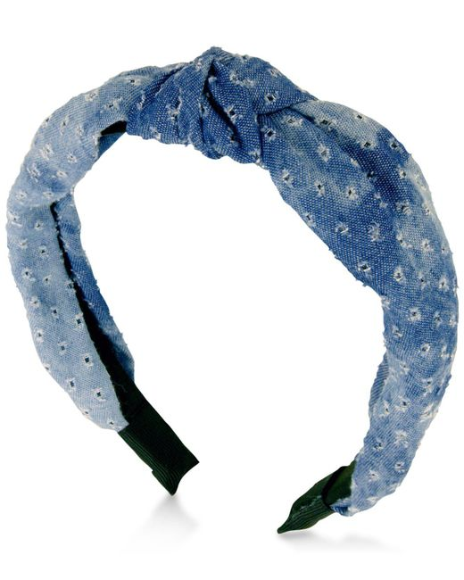 Guess - Black Denim Knotted Headband - Lyst