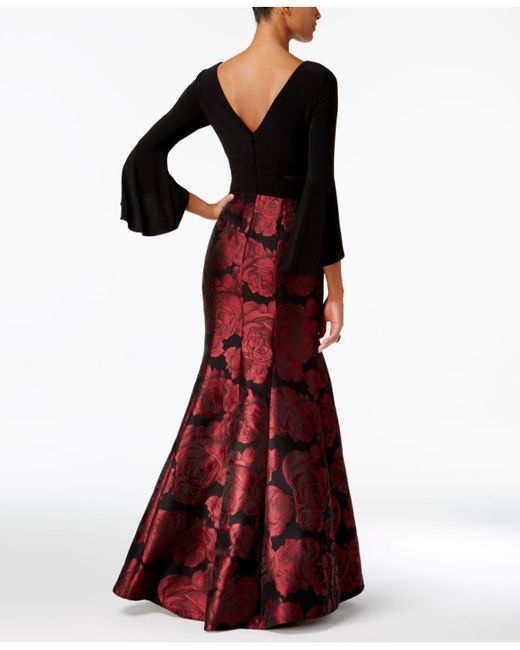 Lyst - Xscape Bell-sleeve Brocade Mermaid Gown in Red