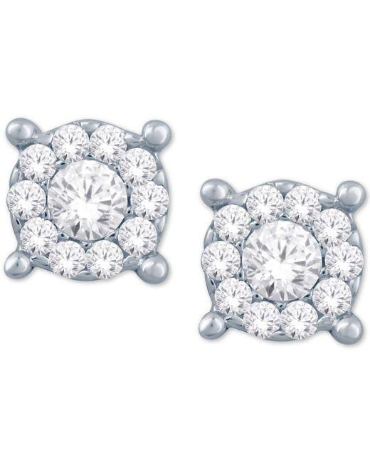 Macy's - Metallic Diamond Halo Cluster Stud Earrings (1/10 Ct. T.w.) In 10k White Gold - Lyst