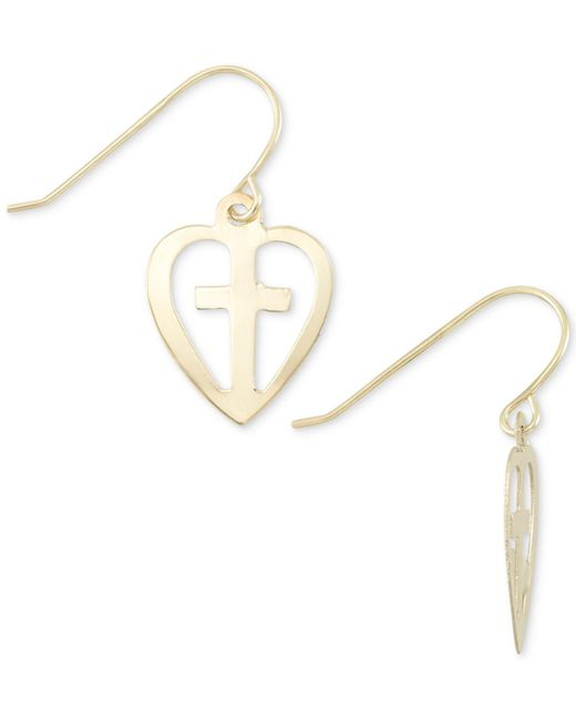 Macy's - Metallic Cross Heart Drop Earrings In 10k Gold - Lyst